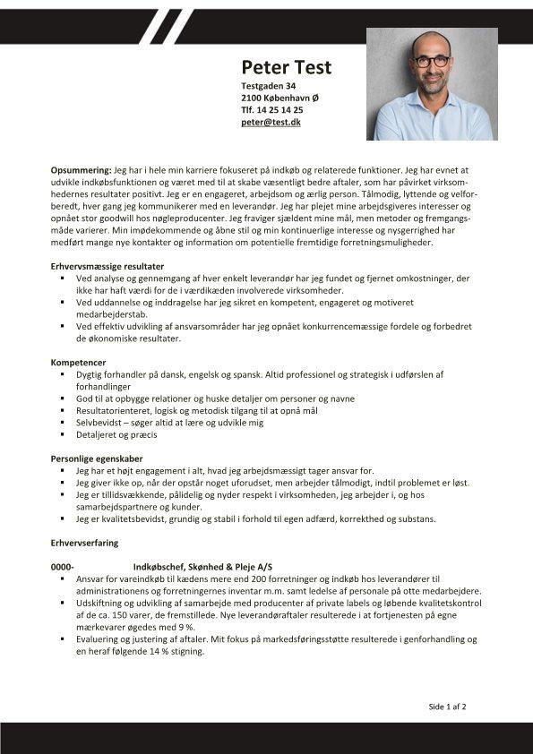 1 CV kompetence med opsummering og resultater