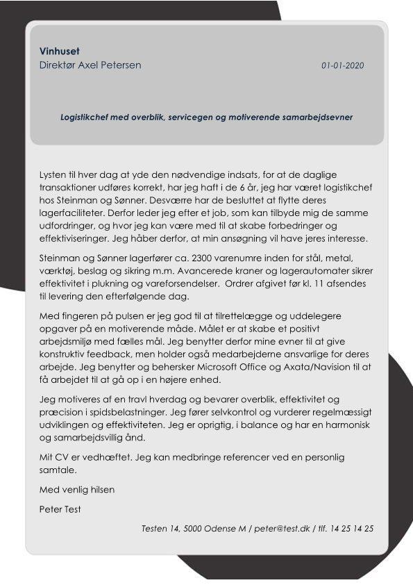 Logistikmedarbejder in outbound transport - Skrivansøgning