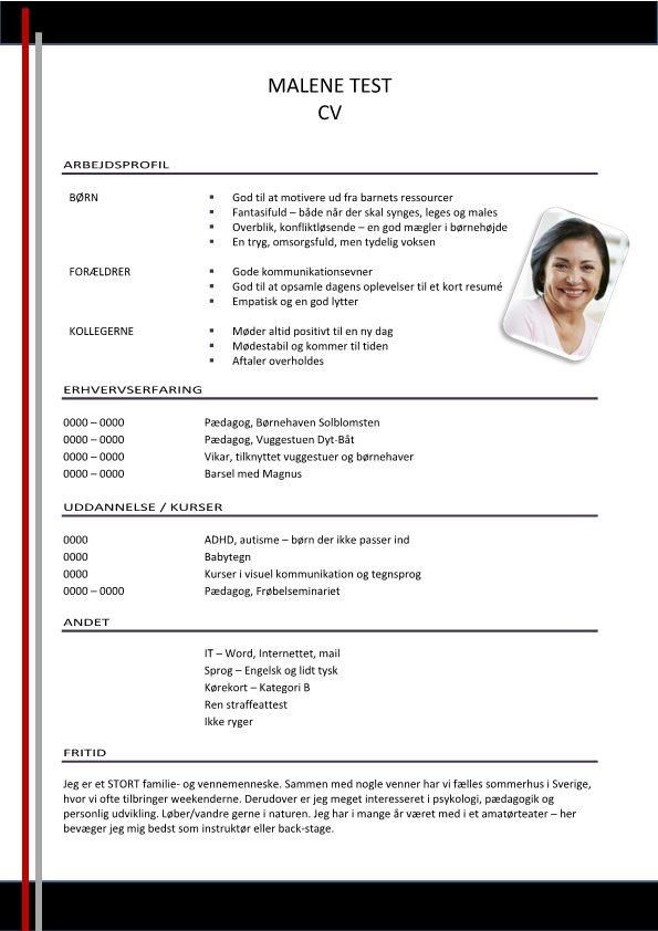 1 Layout-CV-med-arbejdsprofil-grå