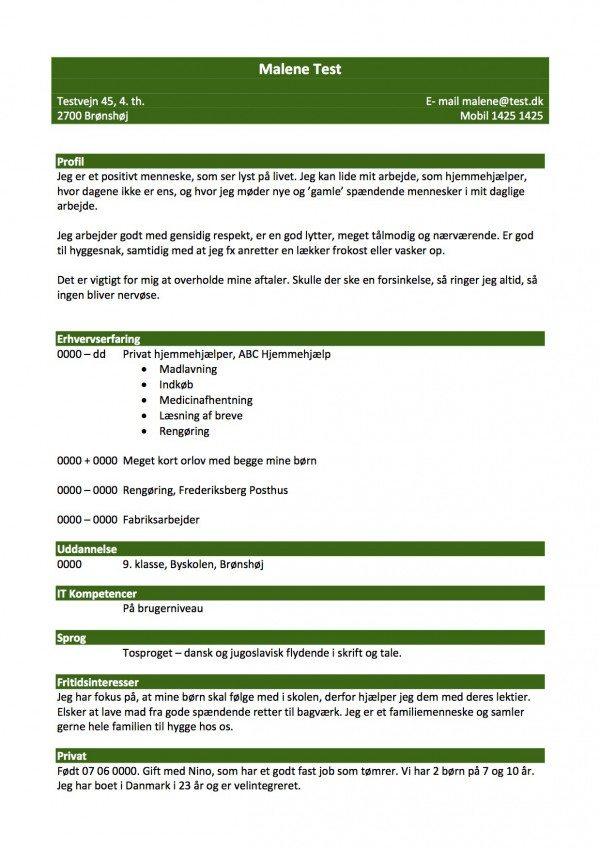 CV kronologisk med profil - grøn