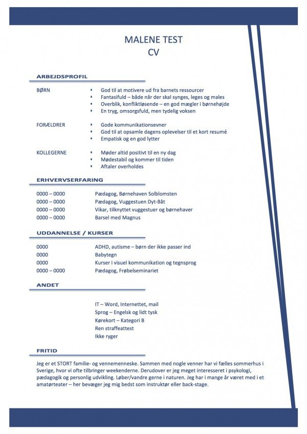 Layout - CV med arbejdsprofil - lysblå