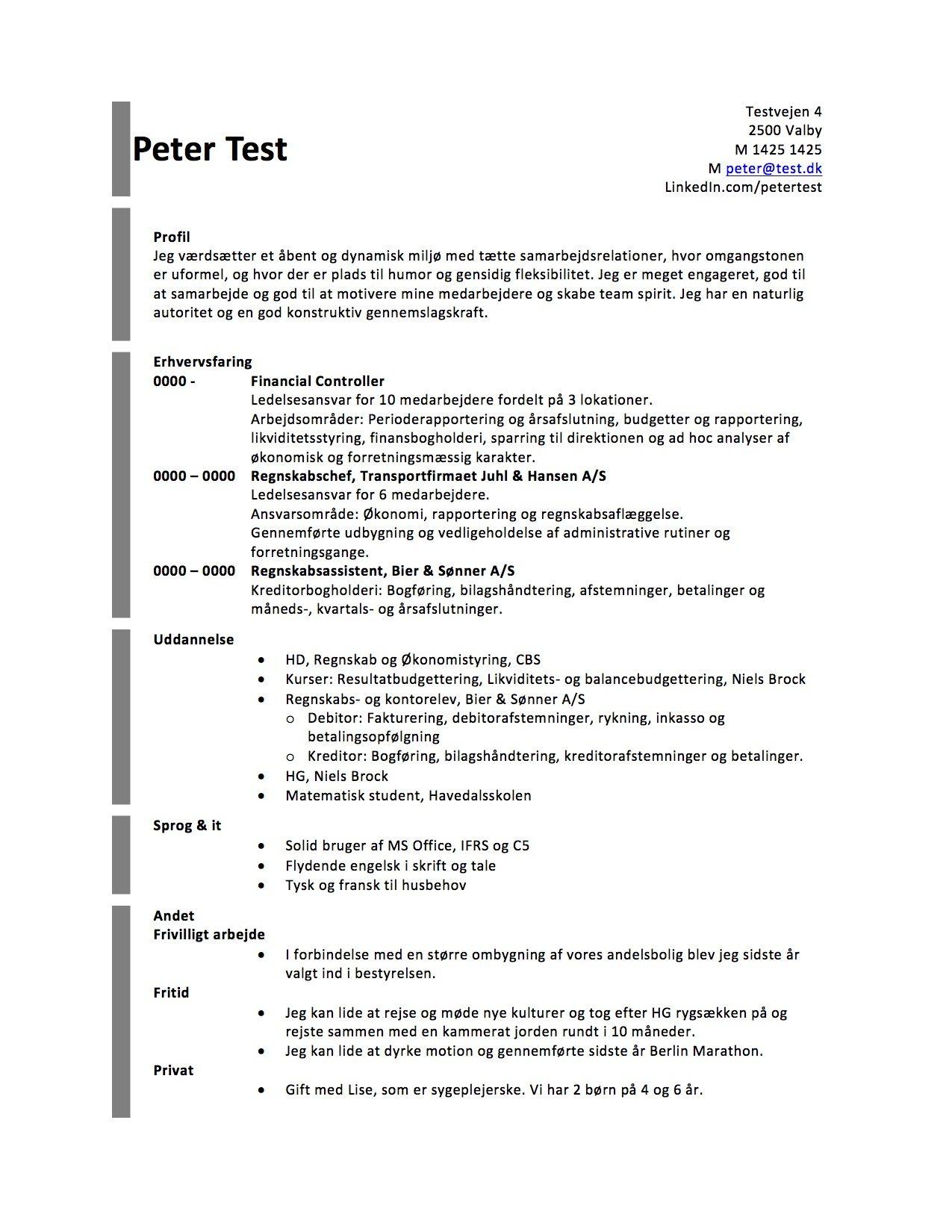Layout - CV med profil - grå - Skrivansøgning