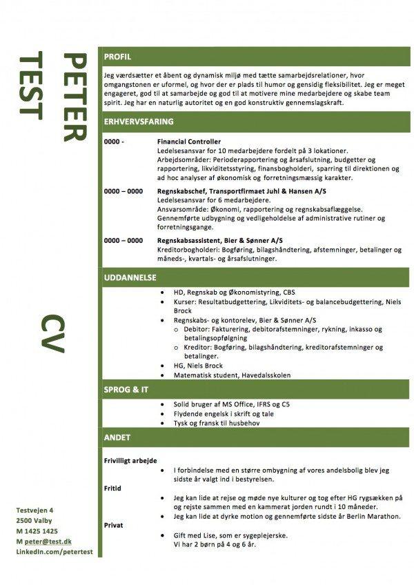 Layout CV med grønne streger