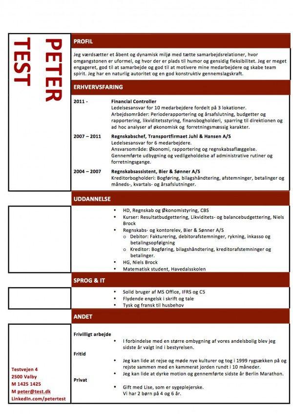 Layout CV med roede stregerLayout CV med roede streger