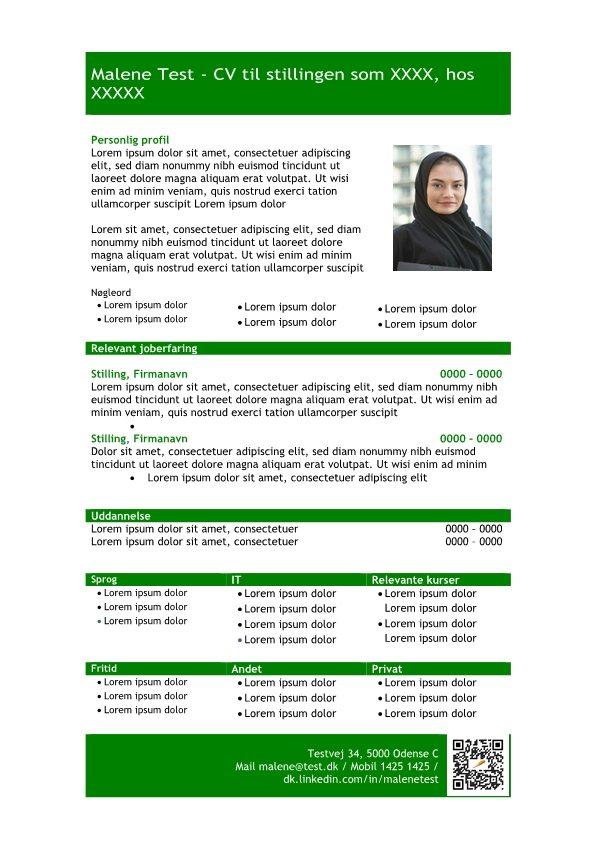 1 Skabelon_CV_med_profil_i_tabelform_grøn