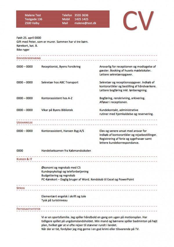 CV layout kronologisk enkelt med vandmaerke rød