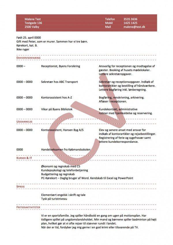 CV layout kronologisk enkelt med vandmærke
