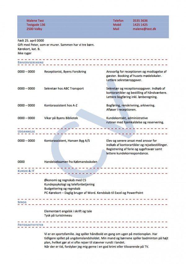 CV layout kronologisk enkelt med vandmærke blå