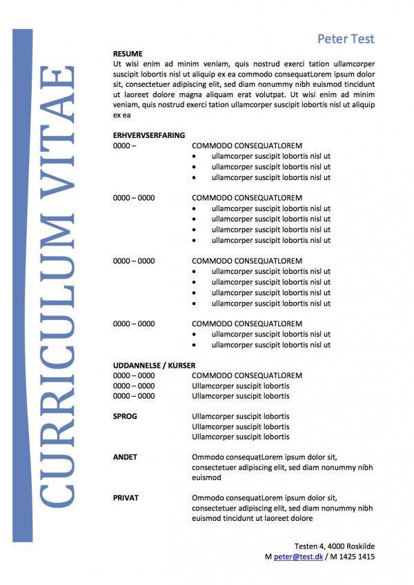 CV skabelon med tekstboks blå