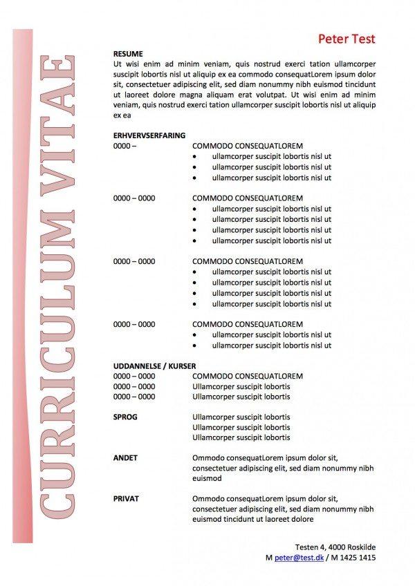 CV skabelon med tekstboks rød