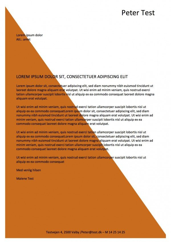 Ansøgning og CV med vandmærke - orange 2 sider