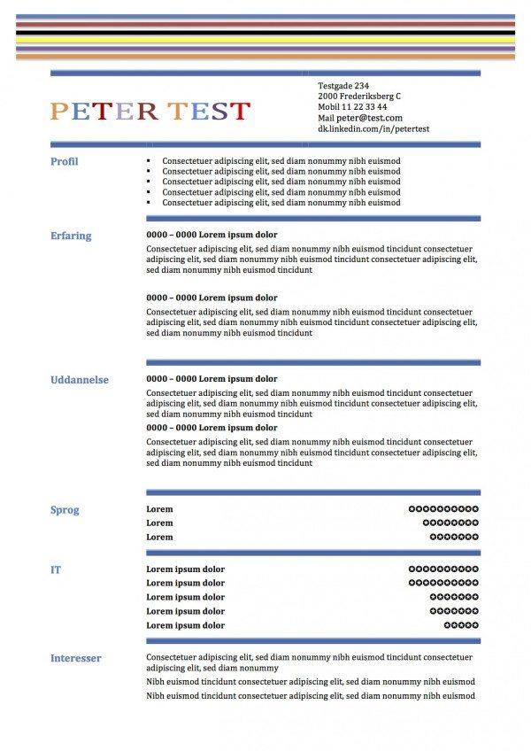 CV skabelon i tabelform med streger