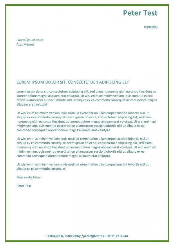 Ansøgning og CV med grøn skriftfarve - 2 sider