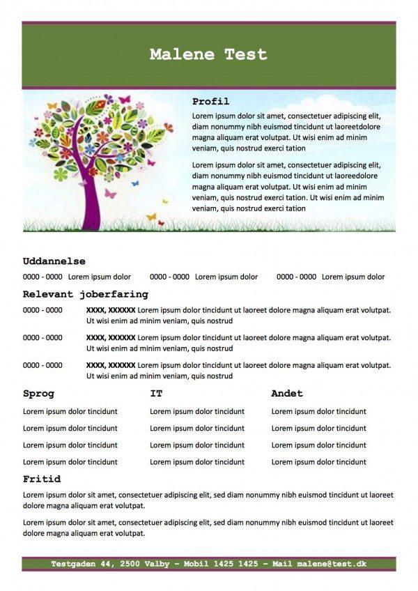 CV skabelon med profil - grøn