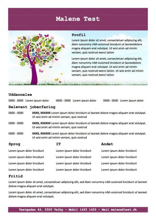 CV skabelon med profil - lilla