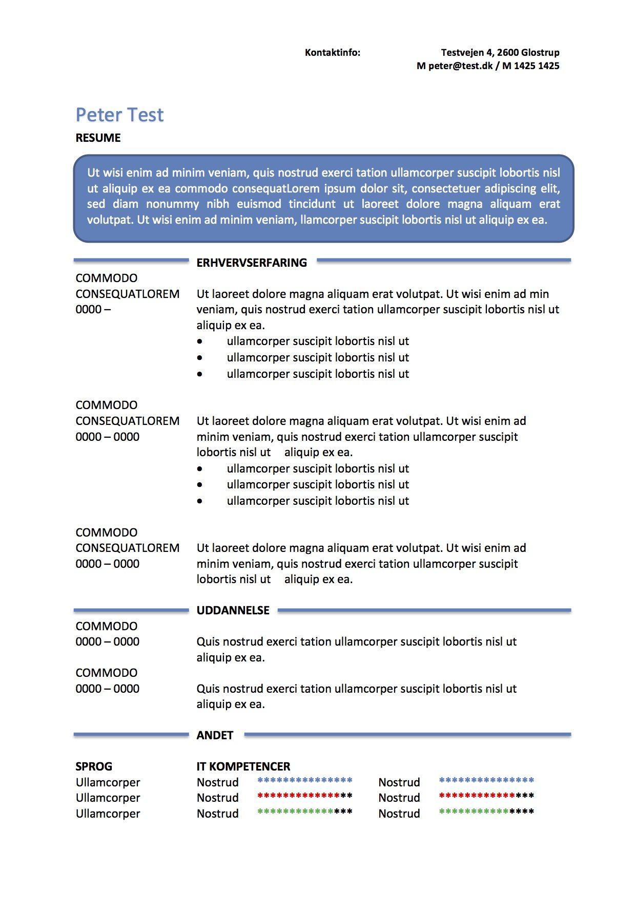 CV skabelon  resume i tekstboks