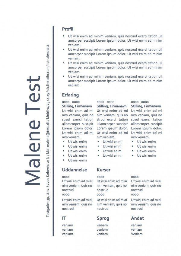 CV skabelon - tabel - blå skriftfarve