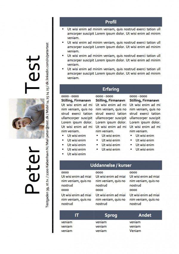 CV skabelon - tabel med billede