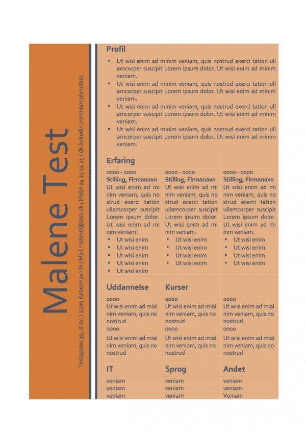 CV skabelon - tabel orange