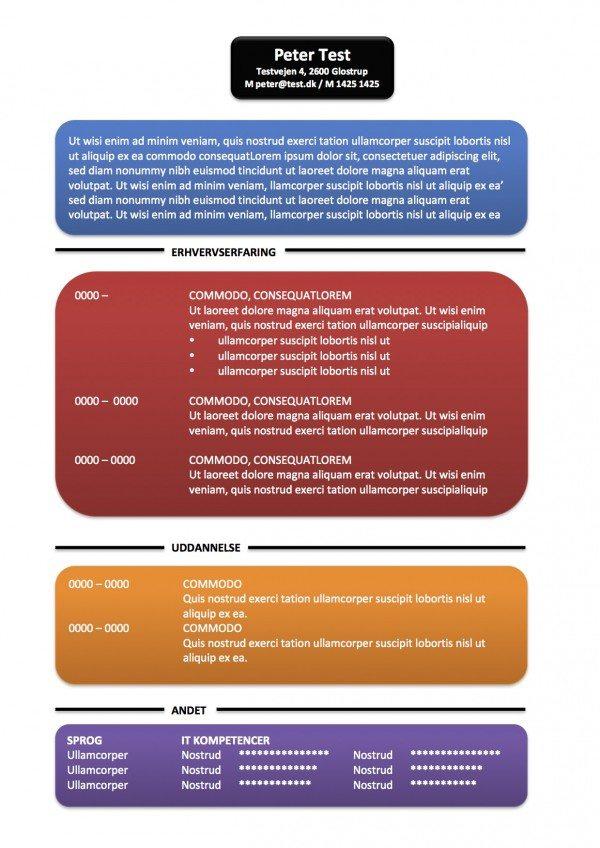 CV skabelon - tekstbokse - flere farver