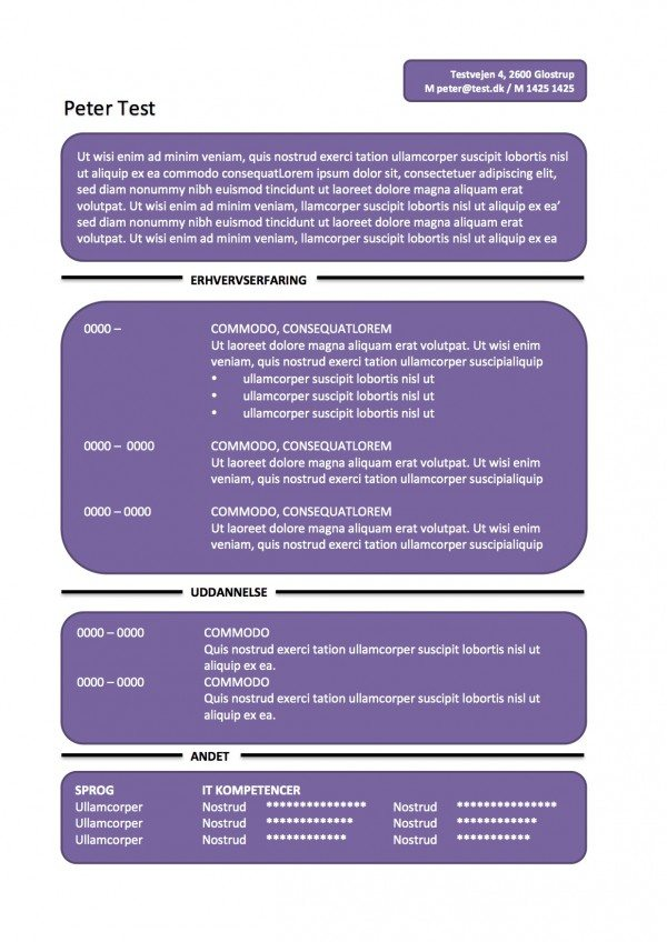 CV skabelon - tekstbokse - lilla