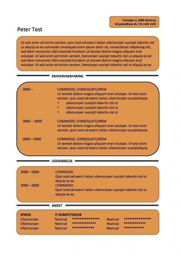 CV skabelon - tekstbokse - orange