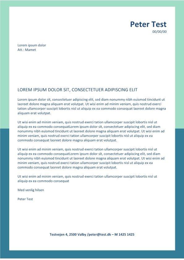 Ansøgning og CV - layout med grøn ramme
