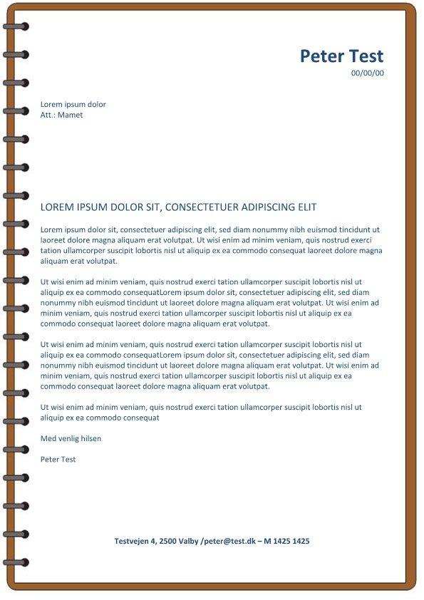 Ansøgning og CV - layout med spiral brun - 2 sider