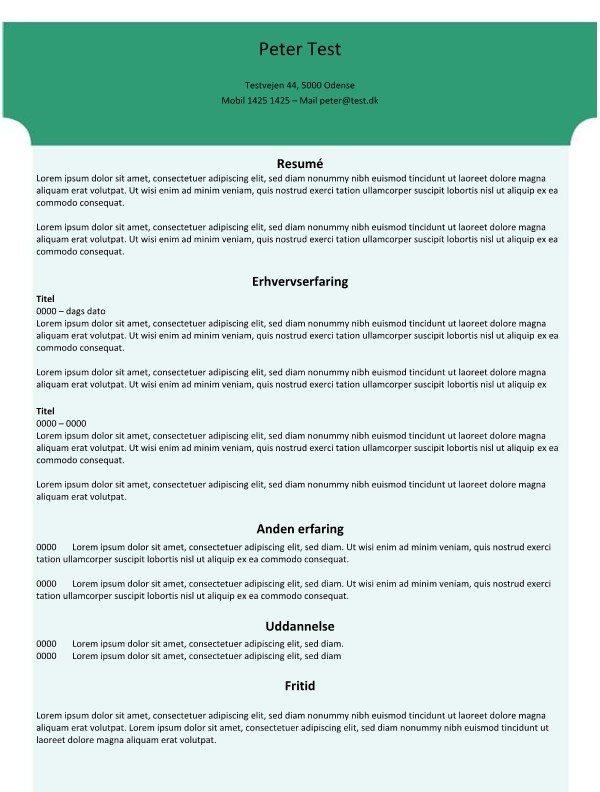 CV skabelon med grøn baggrund
