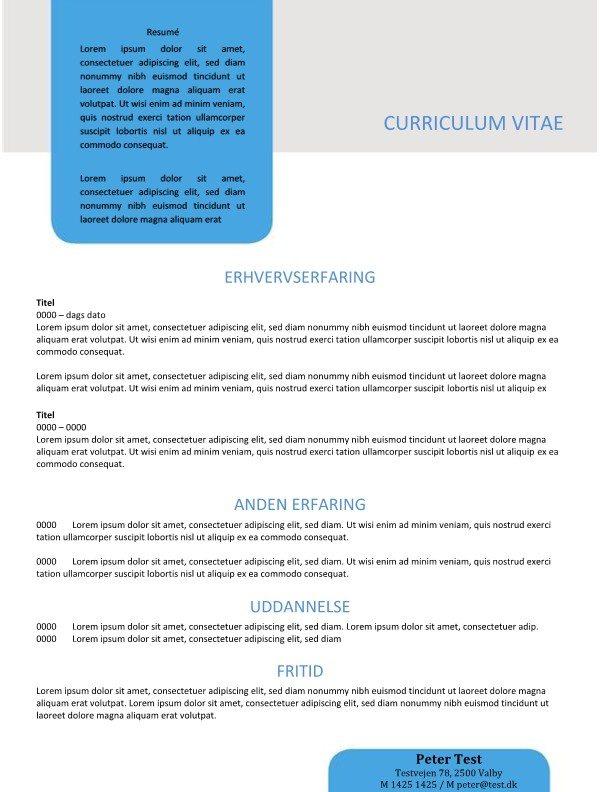 CV skabelon med resume i tekstboks
