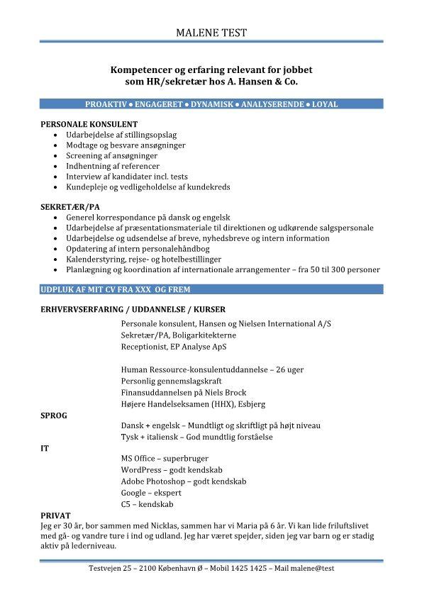 CV - kompetencer og erfaring relevant for jobbet - blå