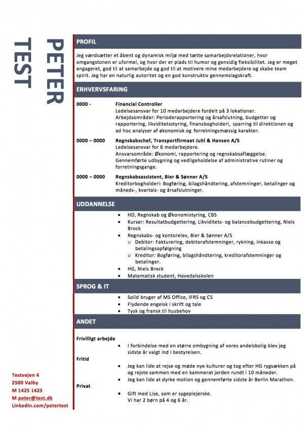Layout CV med blå streger