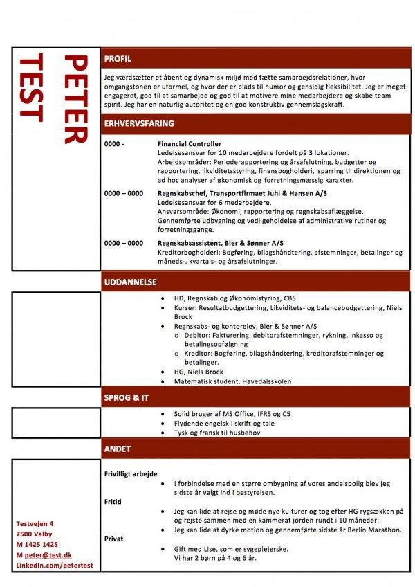 Layout CV med røde streger