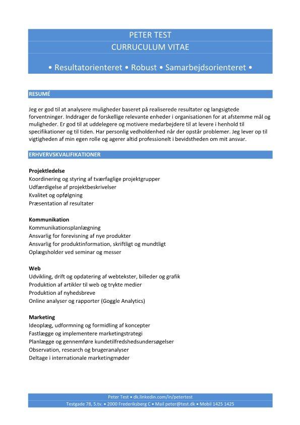 Kompetence CV med erhvervskvalifikationer - blå