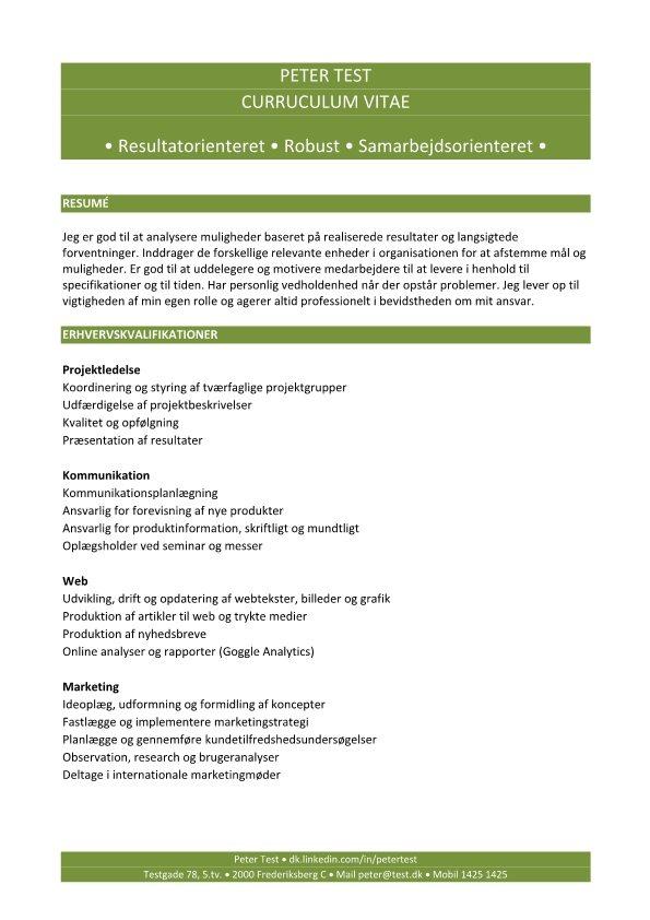 Kompetence CV med erhvervskvalifikationer - grøn