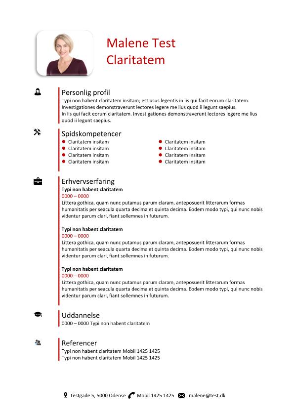 2-CV skabelon - tabel