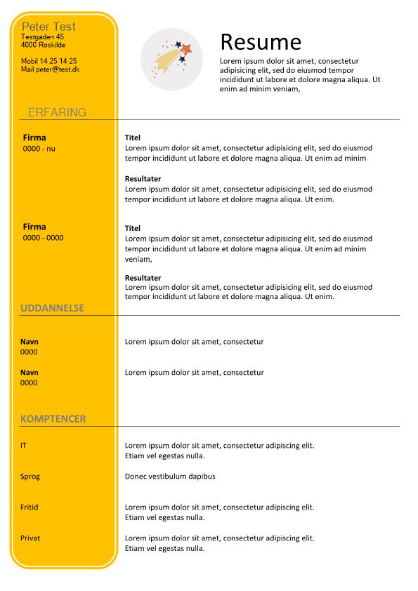 2-CV skabelon med gul venstre side - tekstboks
