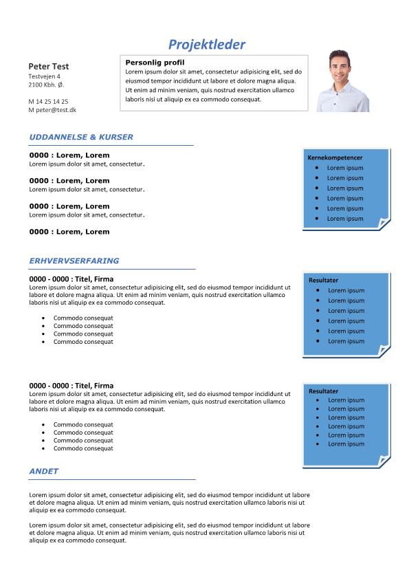 2-CV skabelon med resultatbokse - tekstboks