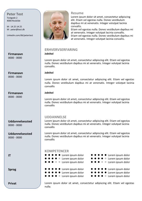 2-CV skabelon i tabel med billede