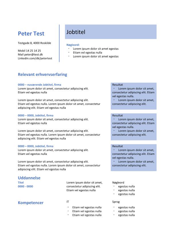 2-CV skabelon i tabel med resultater