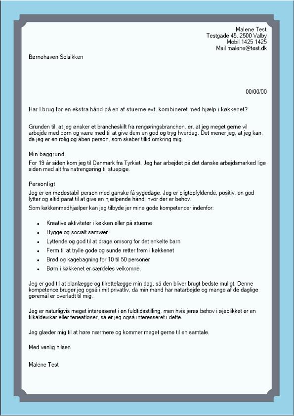 2-Uopfordret ansøgning køkken børnehave
