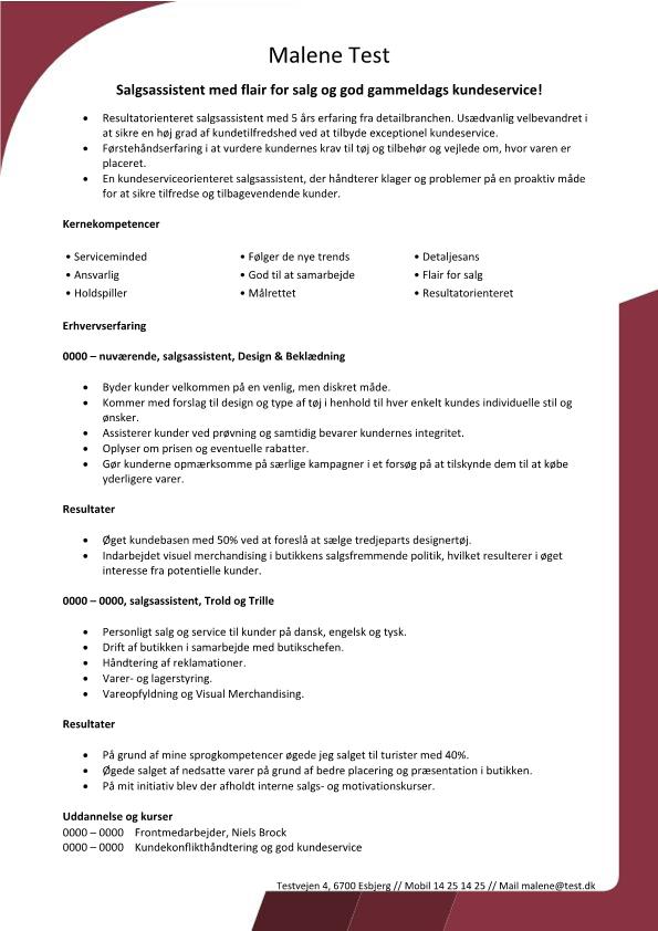 2-CV - Salgsassistent med for flair salg og god gammeldags kundeservice