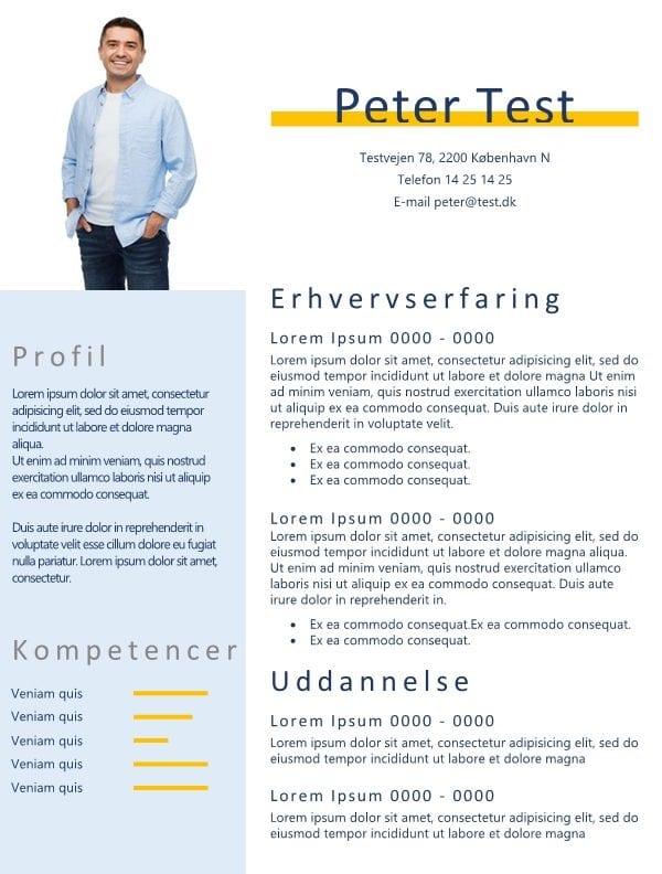 2-Ansøgning og CV med billede og blå tekstfarve - tekstbokse