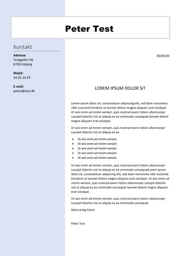 2-Ansøgning og CV med info i venstre side
