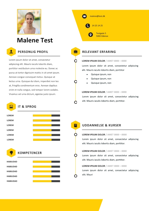 2-CV skabelon med tekstbokse - gul