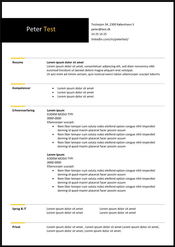 2-CV skabelon sort-gul