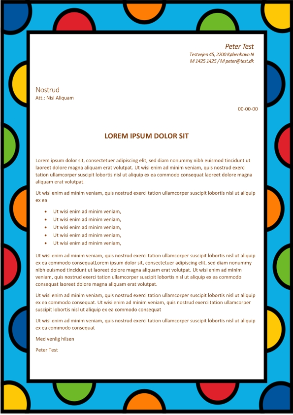 2-Ansøgning og CV med cirkler og blå baggrund - 2 sider