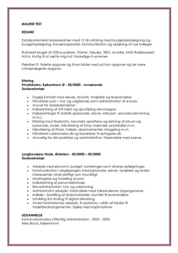 2 - CV Administrativmedarbejder - skolesekretær