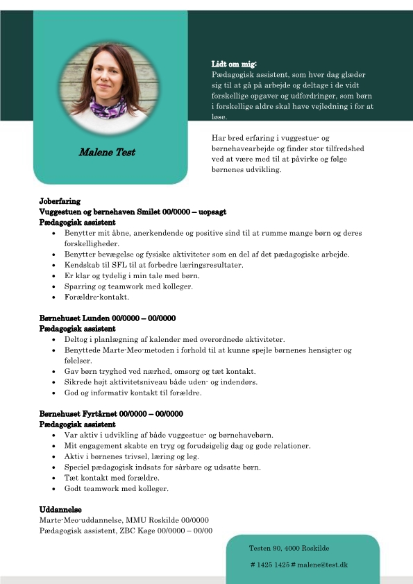 2 - CV Pædagogisk assistent - erfaring med børn