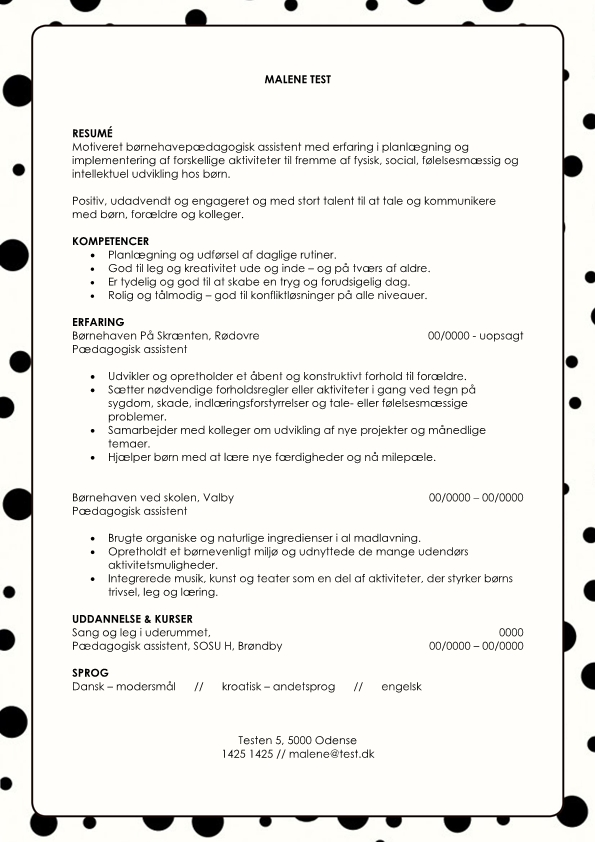 2 - CV Pædagogisk assistent